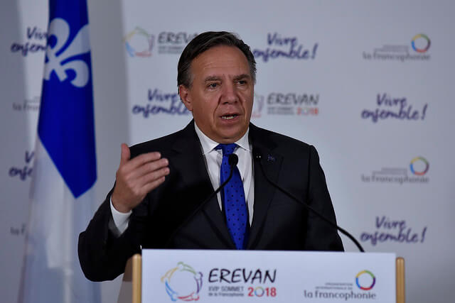 Premier of Québec and leader of the Coalition Avenir Québec, François Legault, speaking