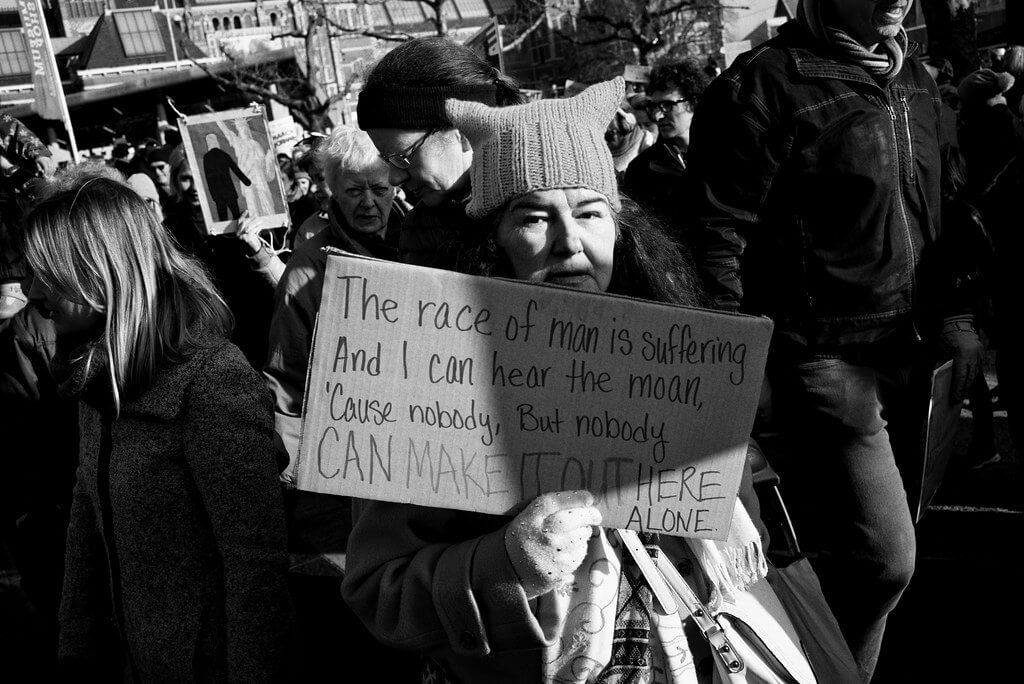 Protester comments on suffering at women's march, January 2017.