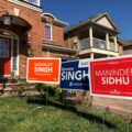 Election lawn signs for the conservatives, liberals and NDP.