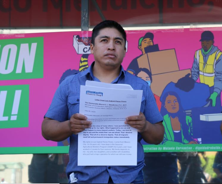 Luis G Flores, farm worker and COVID-19 survivor, speaking out about experience with poor working and housing conditions during COVID 19