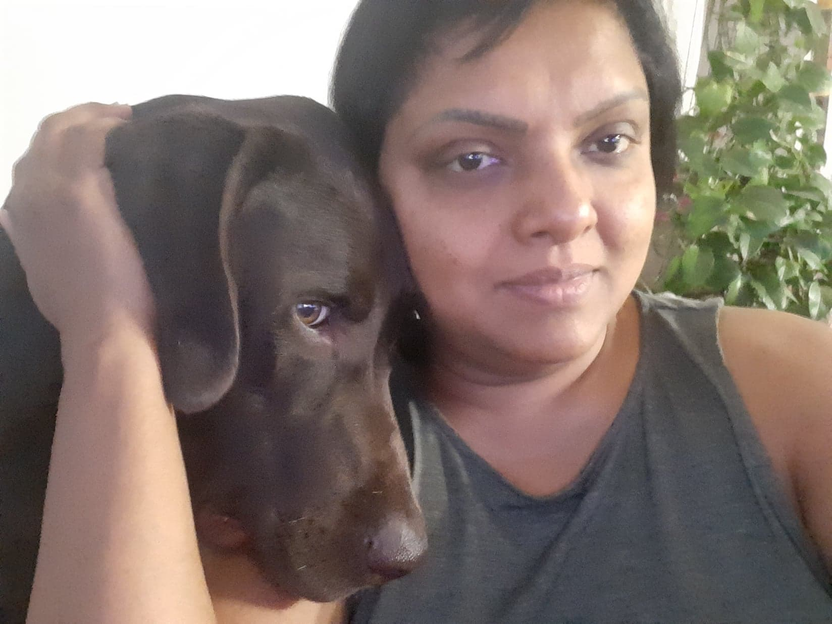 Aruna with her dog,