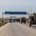 Photo of American armoured vehicles on a highway in Syria.