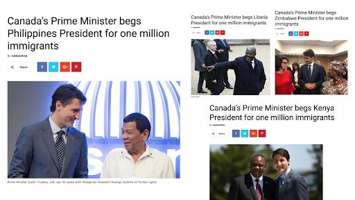 screenshots of articles spreading disinformation in politics