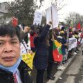 Protestors in Canada march for Myanmar.