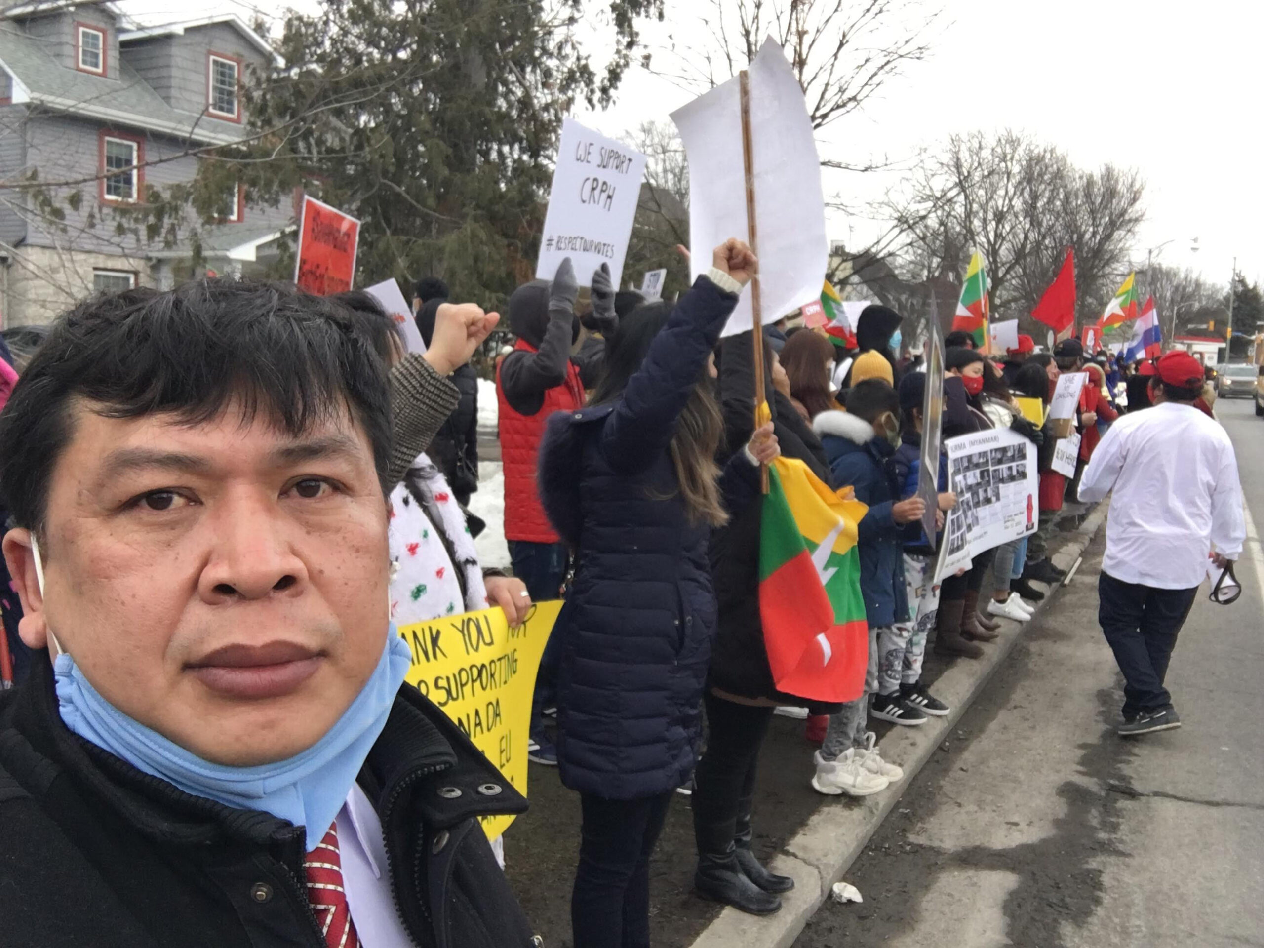 Protestors in Canada march for Myanmar.