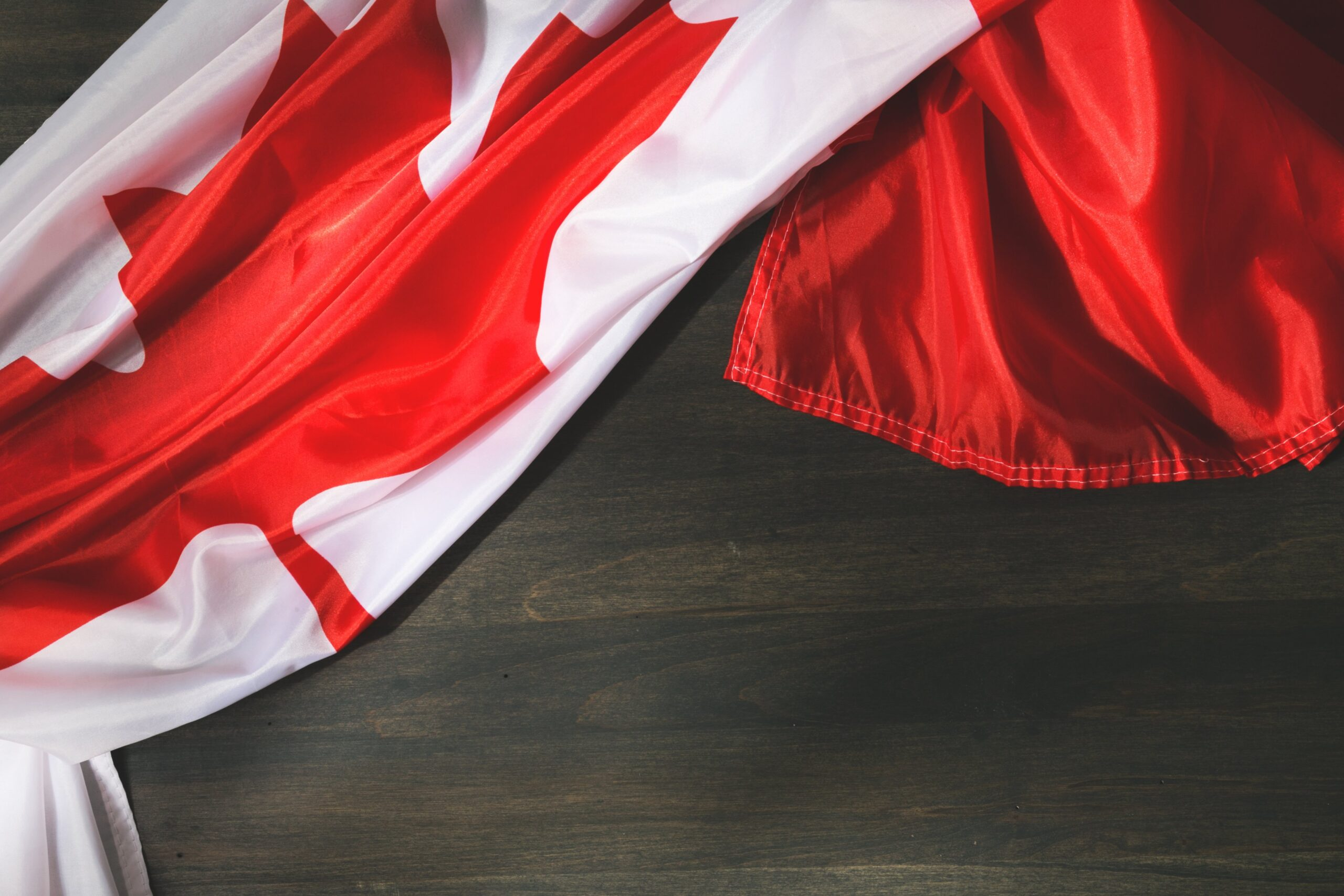 Canadian flag on table