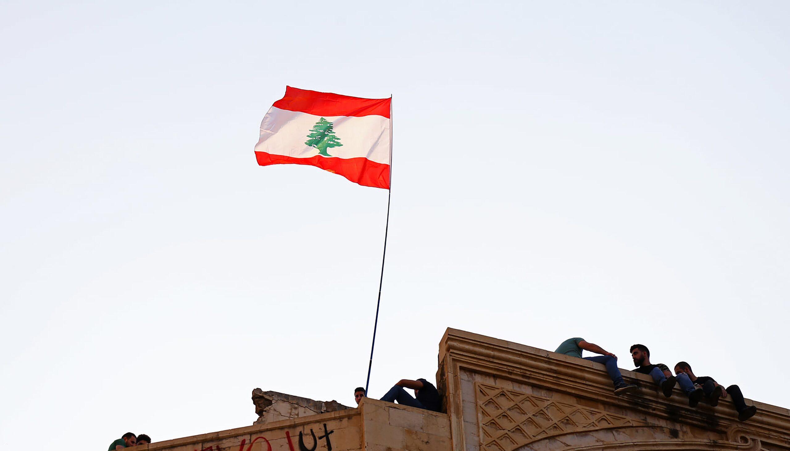 Le drapeau libanais à Beyrouth