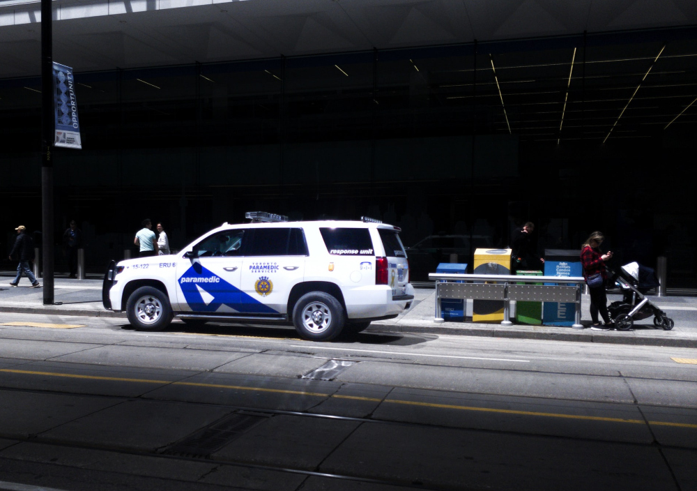 Photo of a police car in Toronto. Emergency services also include paramedics and the fire department.